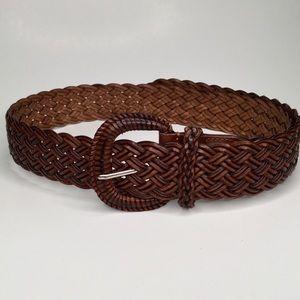 Woven belt. Bonded leather. Size M-L